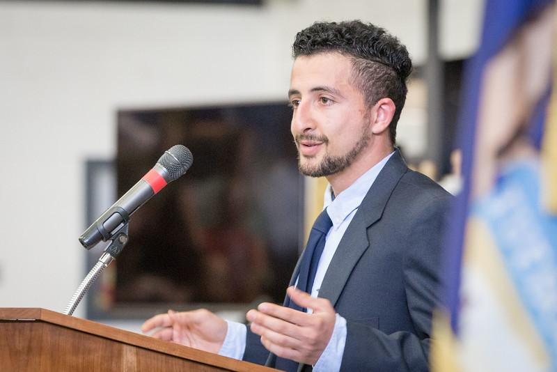 NMC student Edris Fana speaks at the 2016 NMC Commencement