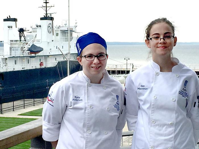 Culinary students Katie Anderson (left) and Dee Merriman