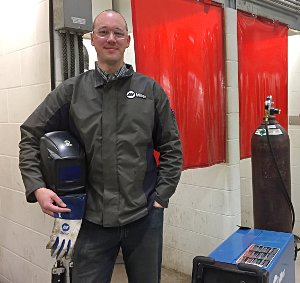 Welding instructor Devan DePauw and equipment