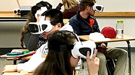 Students use virtual reality headsets