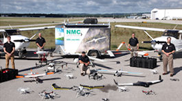 Photo of NMC's Unmanned Aerial Systems (UAS) fleet and instructors