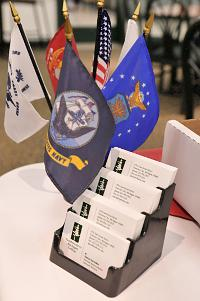Military table flags and NMC business cards