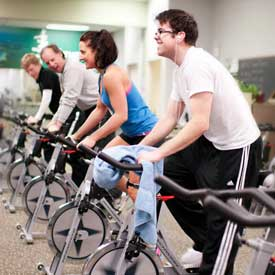 Stationary bikes at the NMC Fitness Center