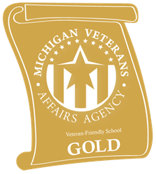 Gold-level Veteran-Friendly School logo