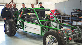 Hybrid test vehicle and students
