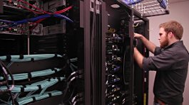 CIT student and server rack