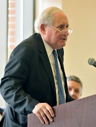 Sen. Carl Levin speaks at the Oct. 19, 2014 NMC Great Lakes Campus harbor renovation celebration