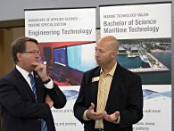 Sen. Gary Peters (D-Mich) tours NMC's Great Lakes Campus and learns about the marine technology bachelor's degree August 20, 2015.